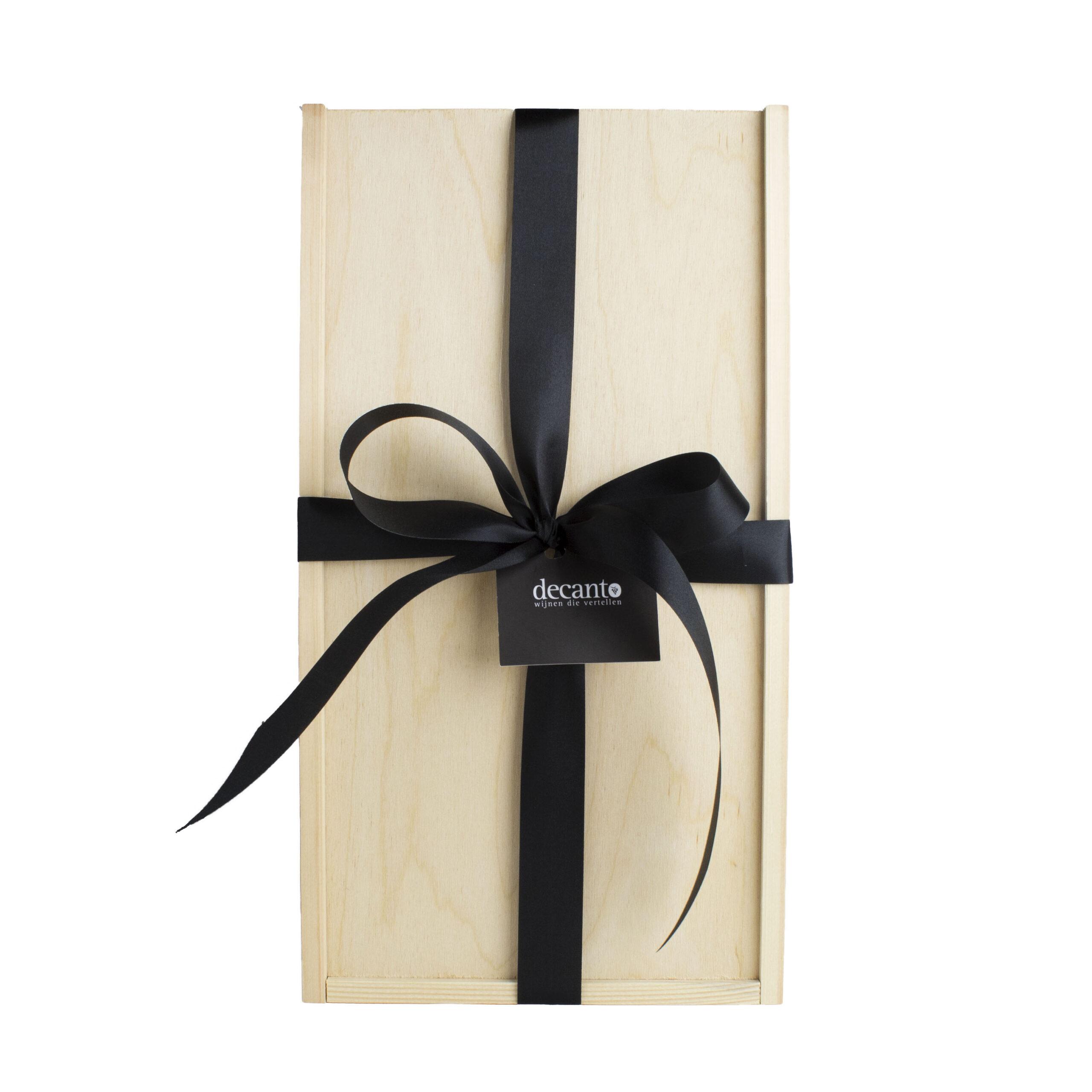 Stijlvolle houten wijnkist - geschenkverpakking voor 2 flessen
