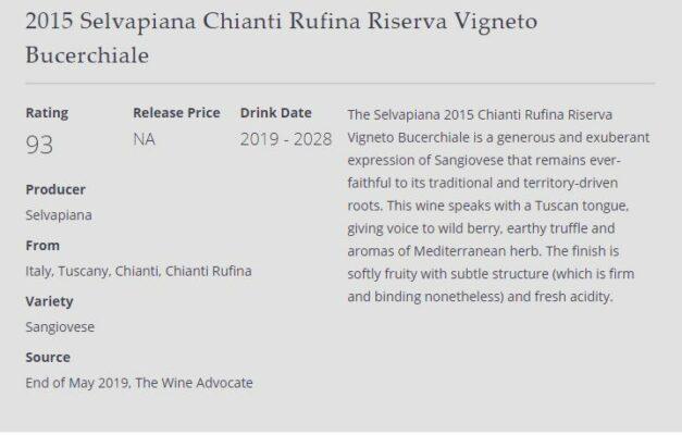 The Wine Advocate Bucerchiale 2015