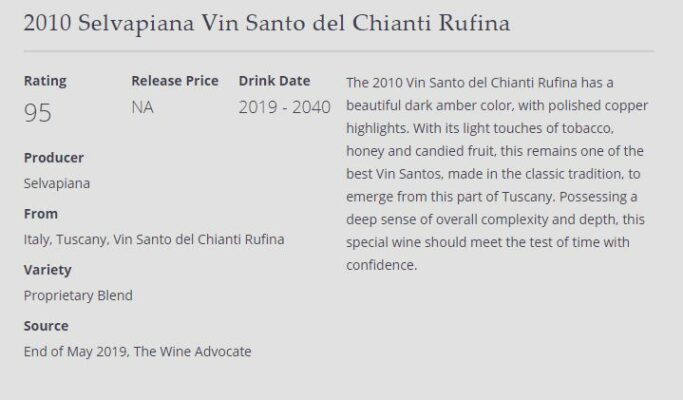 The Wine Advocate Vin Santo 2010